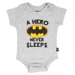 DC Comics Batman A Hero Never Sleeps Grey Baby Onesie