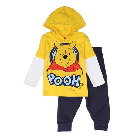 Disney Winnie The Pooh Yellow Fleece Pants With Jersey Hooded Top