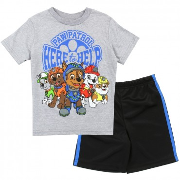Nick Jr Paw Patrol Here To Help Grey Shirt And Black Mesh Shorts At Space City Kids Clothing