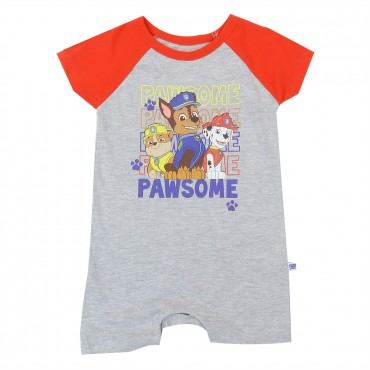 Nick Jr Paw Patrol Pawsome Grey Infant Romper With Chase Marshall and Rubble At Space City Kids Clothing