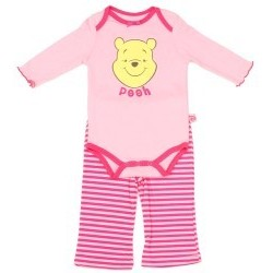 Winnie The Pooh Pink 2 Piece Long Sleeve Onesie And Pants Set