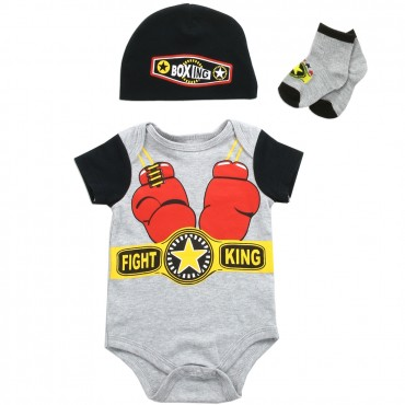 Buster Brown Boxing Fight King 3 Piece Layette Set With Onesie Hat and Socks At Space City Kids Clothing