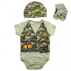 Buster Brown Safari Adventure Green Camouflage 3 Piece Layette Set