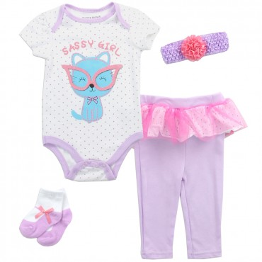 Buster Brown Sassy Girls 4 Piece Layette Set With Onesie Pants Headband and Socks At Space City Kids Clothing