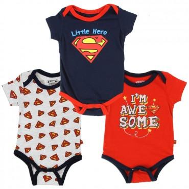 DC Comics Superman Little Hero 3 Piece Infant Onesie Set Space City Kids Clothing