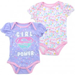 DC Comics Supergirl Girl Power Lavender 2 Piece Creeper Set Space City Kids Clothing