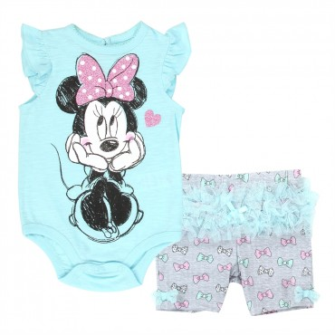 Disney Minnie Mouse Blue Onesie With Grey Short With Tutu Infant Short Set Space City Kids Clothing