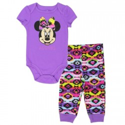 Disney Minnie Mouse Purple Onesie With Colorful Geometric Designs On Pants