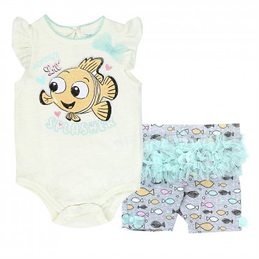 Disney Finding Nemo Mommy's Lil Spasher Onesie With Short wth Tutu Space City Kids Clothing