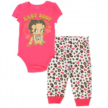 Baby Boop Coral Onesie With Gold Glitter Print With Animal Print Pants Space City Kids Clothing