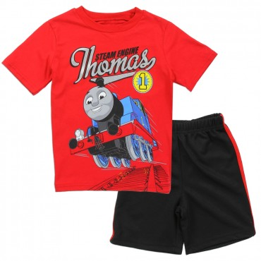 Thomas and Friends The Steam Engine Thomas Red Shirt With Black Short At Space City Kids Clothing