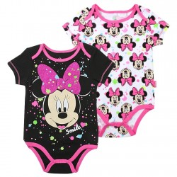 Disney Minnie Mouse Smile Black And White 2 Pack Onesie Set