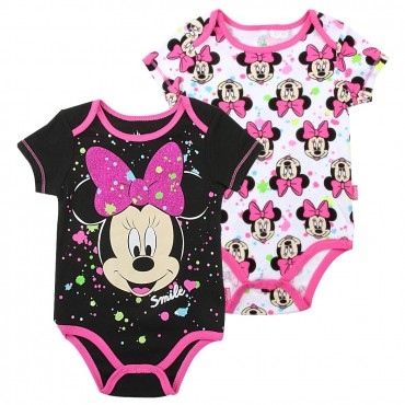 Disney Minnie Mouse Smile Black And White 2 Pack Onesie Set Space City Kids Clothing Store