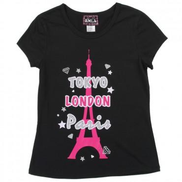 RMLA London Paris Tokyo Girls Black Princess Tee Space City Kids Clothing Store Conroe Texas