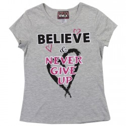 RMLA Believe and Never Give Up Grey Princess Tee