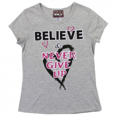 RMLA Believe and Never Give Up Grey Girls Princess Tee Space City Kids Clothing Store Conroe Texas