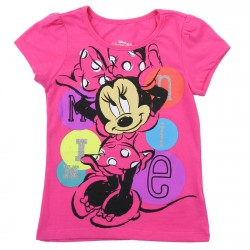 Disney Minnie Mouse Pink Toddler Girls Princess Tee With Silver Glitter Print Space City Kids Clothing Store