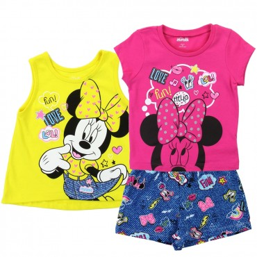Disney Minnie Mouse tank Top Shirt and Shorts Toddler Girls 3 Piece Short Set Space city Kids Clothing
