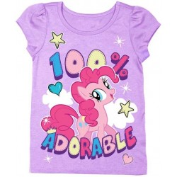 My Little Pony Pinkie Pie 100% Adorable Puff Sleeve Purple Graphic T Shirt
