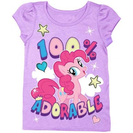 My Little Pony Pinkie Pie 100% Adorable Puff Sleeve Purple Graphic Shirt Space City Kids Clothing