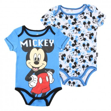 Disney Mickey Mouse Blue and White 2 Piece Infant Onesie Set Space City Kids Clothing