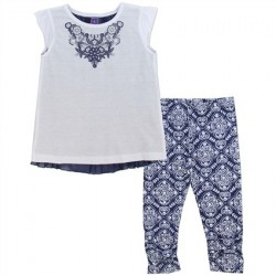 OK Apparel Blue and White 2-Piece Chiffon Top and Printed Leggings.
