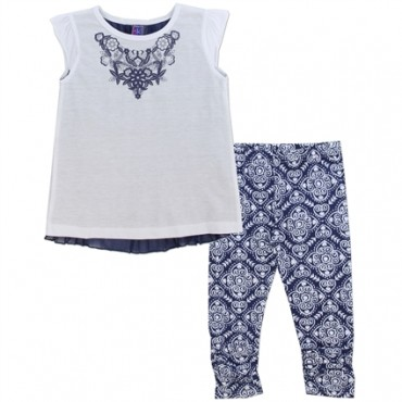 OK Apparel Blue and White 2-Piece Chiffon Top and Printed Leggings. Space City Kids Clothing