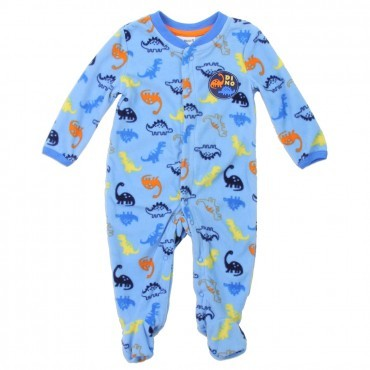 Bust Brown Dinosaur Blue Snap Down Microfleece Footed Sleeper Space City Kids Clothing