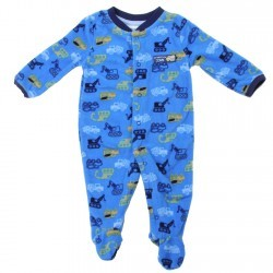 Buster Brown Tractors Blue Snap Down Microfleece Footed Sleeper