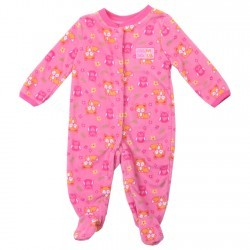 Buster Brown Baby Foxes Pink Snap Down Microfleece Footed Sleeper Space City Kids Clothing Store