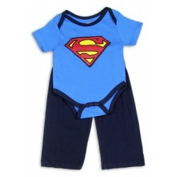 DC Comics Superman Blue Creeper With Shield And Navy Blue Pants Set