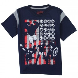 Marvel Comics Avengers American Flag Navy Blue Boys Shirt Space City Kids Clothing
