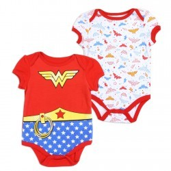 DComics Wonder Woman Red 2 Pack Infant Onesie Set Space City Kids Clothing Store