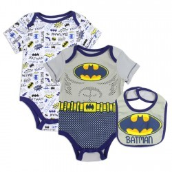 DC Comics Baby Batman 3 Piece Onesie And Bib Set Space City Kids Clothing