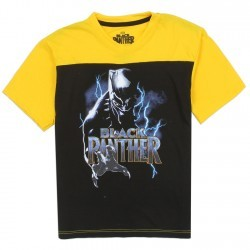 Marvel Comics Black Panther Black And Yellow Boys Short Sleeve Shirt Space City Kids Clothing Store