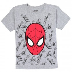Marvel Comics Spider Man Red Mask Grey Boys Shirt Space City Kids Clothing Store