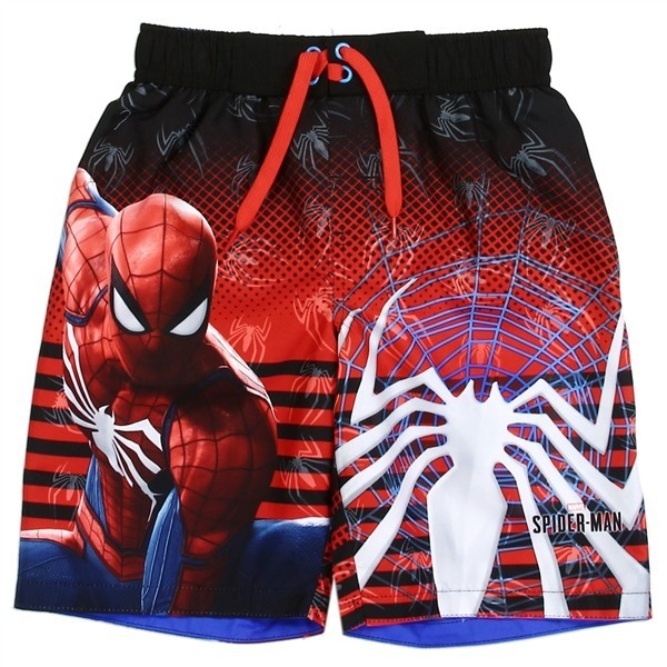 UPF 50. Marvel Spiderman Red /& Black Boys Swim Rash Guard Shirt