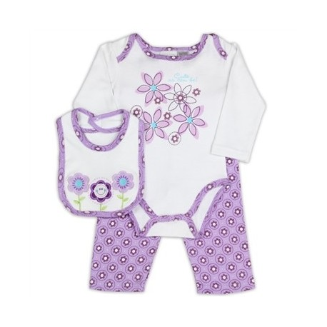 Kathy Ireland Purple Cute As Can Be Flowers Infant 3 Piece Outfit