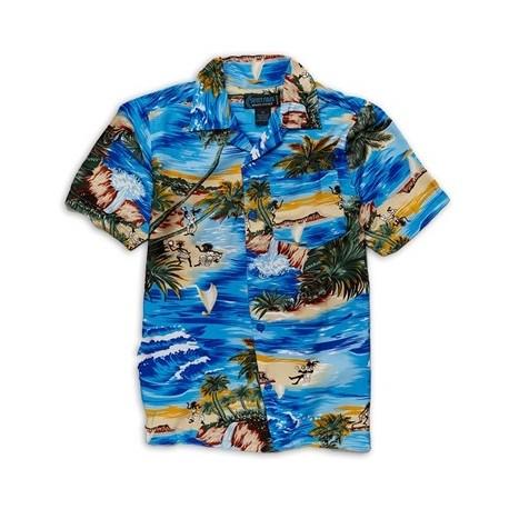 Street Rules Blue Hawaiian Print Button Down Shirt